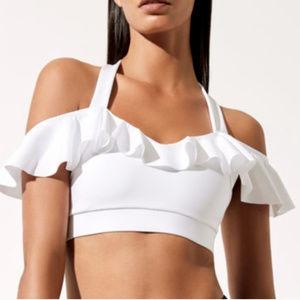 Pol Carbon Bralette White Ruffle  Yoga Bra Sz M